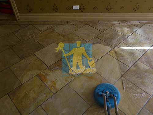 sandstone tiles cleaning before after