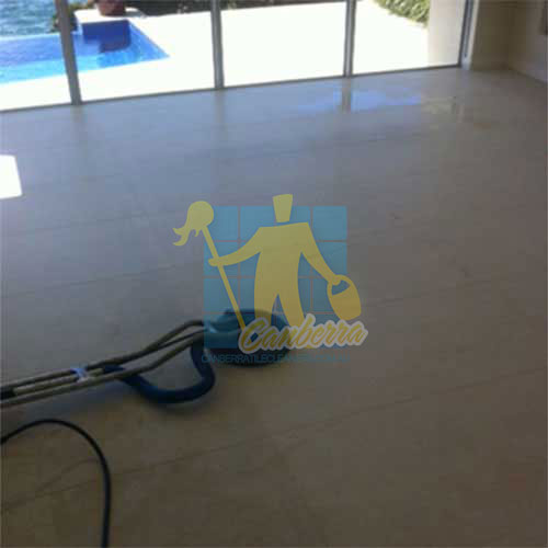 during cleaning limestone floor