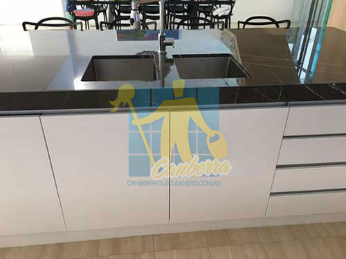shiny cleaned black granite counter top