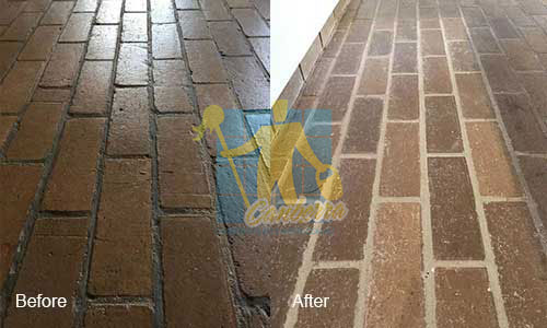 stone blockes before and after grout lines