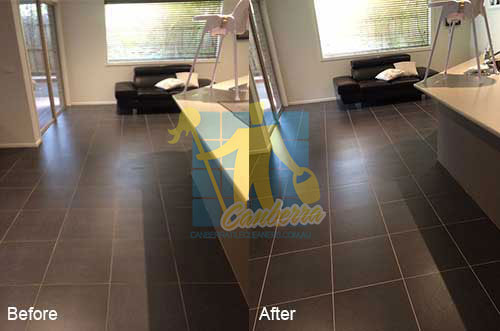 black porcelain floor before and after cleaning