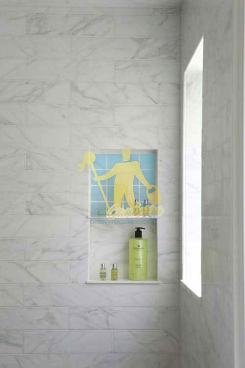 Molonglo Valley marble tiled shower with window