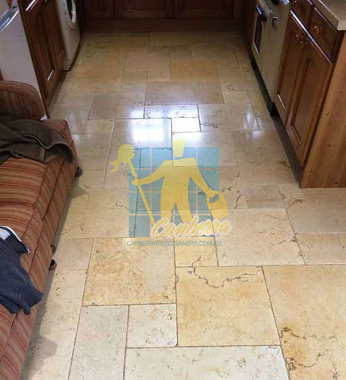 kitchen travertine floor after grinding and polishing