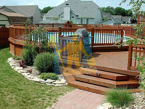dark brown timber pool deck