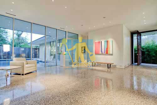 terrazzo modern entry floor tiles polished shiny light color