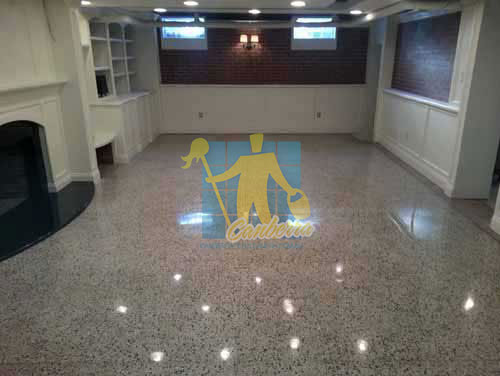 terrazzo tiles polished light color in modern basement